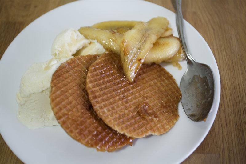 Crispy Waffles & Maple Bananas