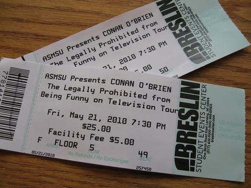 Our Reprinted Conan O'Brien Tickets