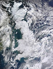 Frozen Britain seen from above