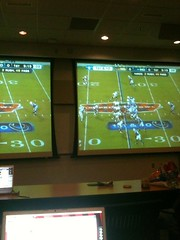 Watching the big game on two huge screens in K...