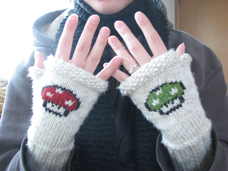 Knitted Mario fingerless gloves