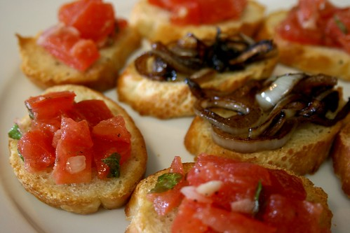 Bruschetta with Tomatoes and Caramelized Onions