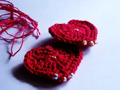 Crochet - Hearty Earrings -WIP3
