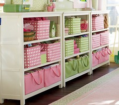 Pottery Barn Cameron Bookcase pink-green