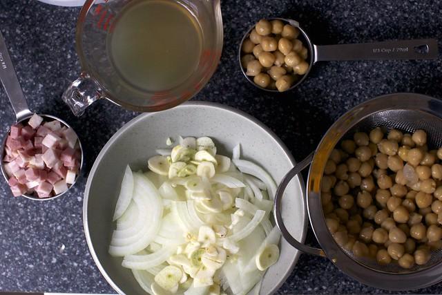 broth, chickpeas, onion and pancetta