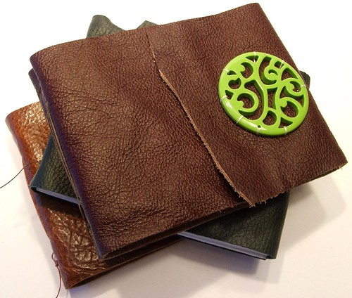 Maroon leather journal w/ chartreuse bead