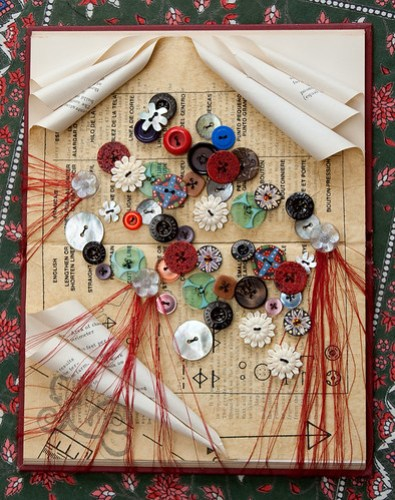 Altered Book: Buttons and the Red Threads