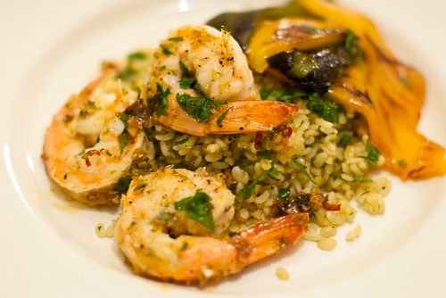 Shrimps with coriander and lime