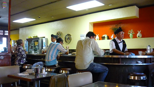 Eating at the counter at La Mallorca bakery, OSJ