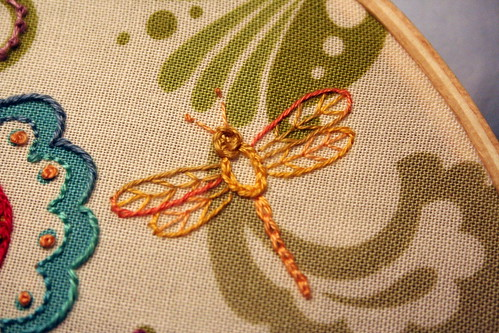 Floral Fabric Sampler - Dragonfly Detail