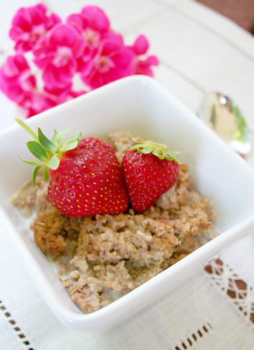 baked strawberry cream and rhubarb oatmeal