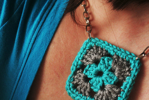 Blue Granny Square Necklace