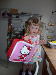 Getting lunch ready for her first day of preschool