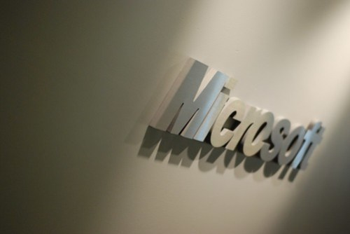 Microsoft logo in the hallway