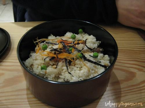 Garnished sushi rice.
