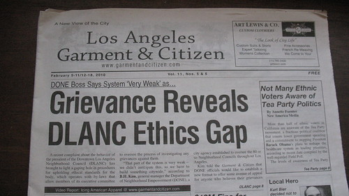 Garment and Citizen DLANC Ethics Gap headline - February 2010