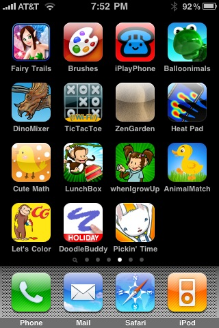 Kid games screen