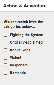 Netflix categories for Action and Adventure