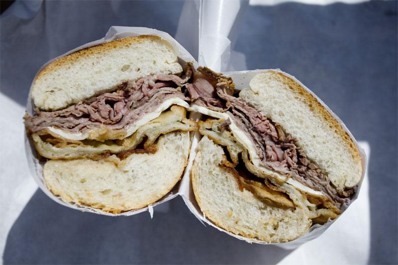 Hot roast beef sandwich w/ mozz and fried eggplant