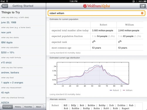 WolframAlpha on iPad