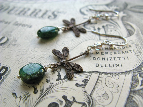 Summer evening earrings in green