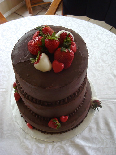 Chocolate Stout Cake with Strawberry Filling