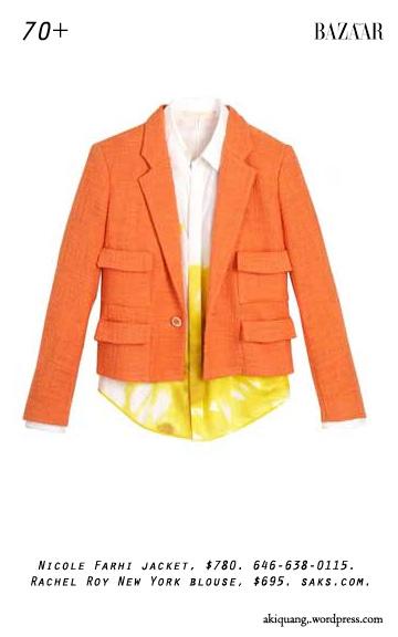 Nicole Farhi jacket, $780. 646-638-0115. Rachel Roy New York blouse, $695. saks.com.