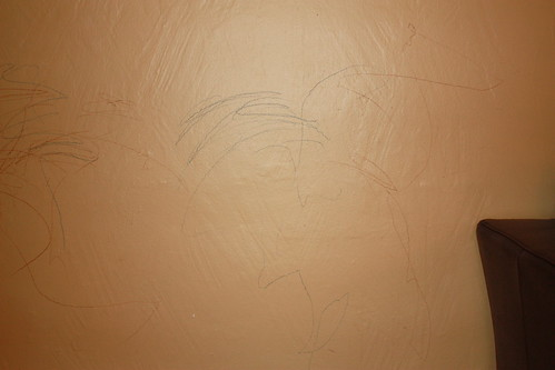 crayon, on wall.