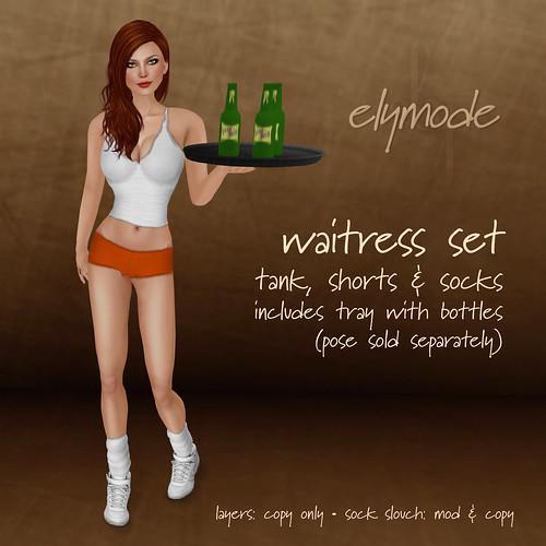 waitress set white-orange