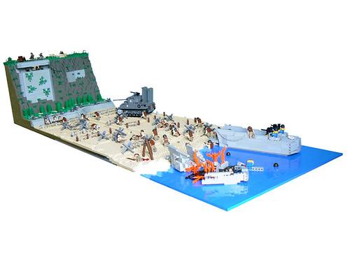 LEGO Omaha Beach landing diorama