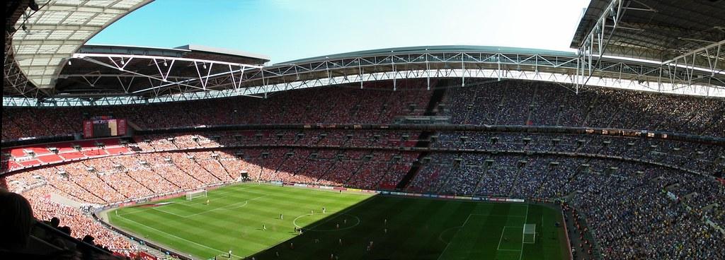 Wembley-Blackpool v Cardiff-Stadium panorama