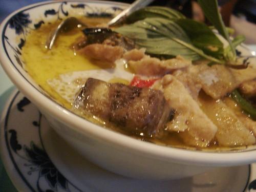 Esarn Kheaw - Gaeng Keaw Wan Kai  £7.95 Green chicken curry in coconut cream with aubergine peas, egg plant, sweet basil and fish sauce.