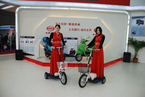 ZAP Jonway Hostesses on ZAPPY3 electric scooters at EVS-25