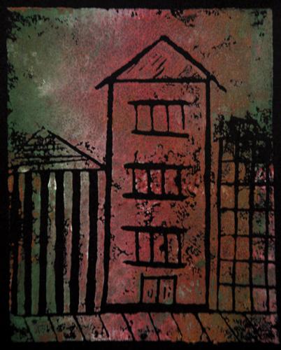 """""""in the city"""" monoprint on black paper (c) Lynne Medsker"""