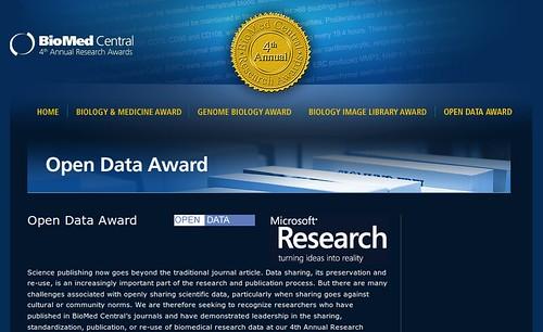 Screenshot of Open Data Awards