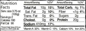 Vegie Burger Nutrition Facts