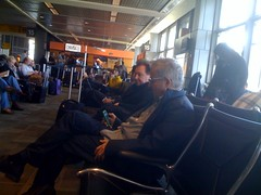 Guess who's sitting next to me & on my flight back to LA? @Devo! #fanboy