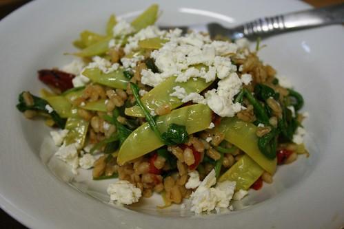 Snow peas, barley, and feta