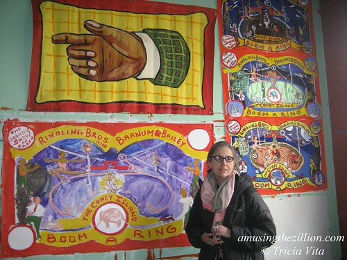 Banner painter Marie Roberts in her Studio at Coney Island USA. Photo © Tricia Vita/me-myself-i via flickr
