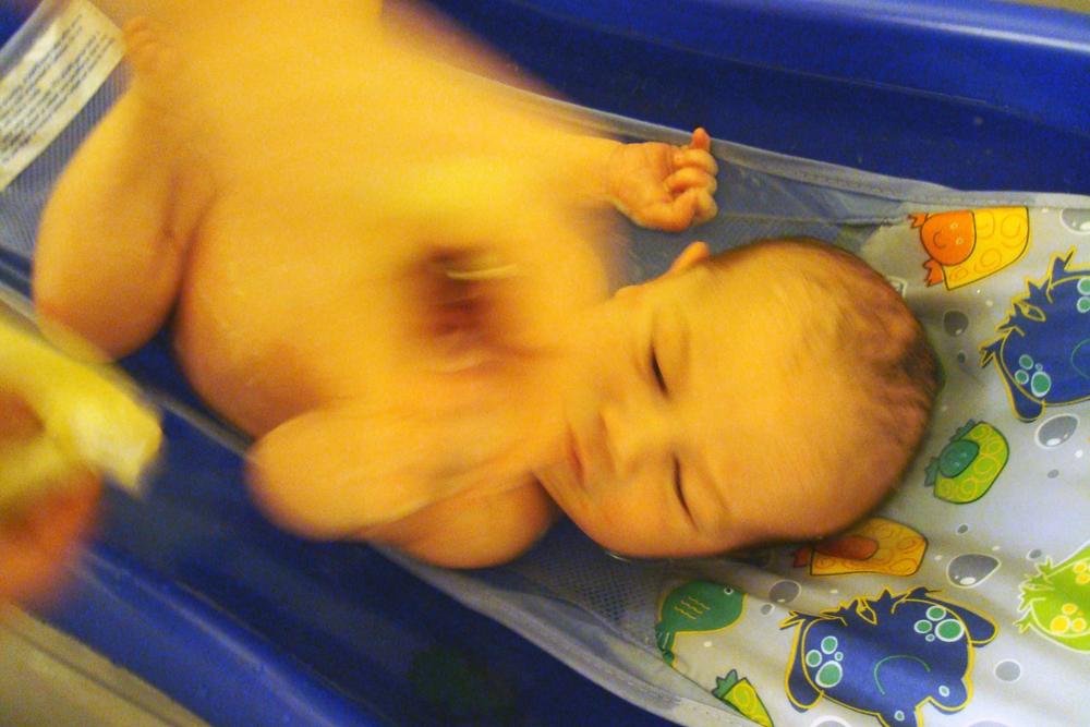 eli's first bath