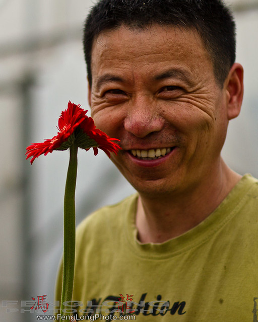 Farmer with a gerbera flower in Shanghai, China