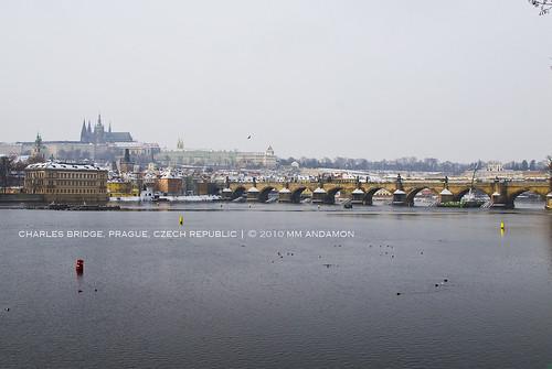 Charles Bridge and Prague Castle (view from Masarykovo nábřeží)