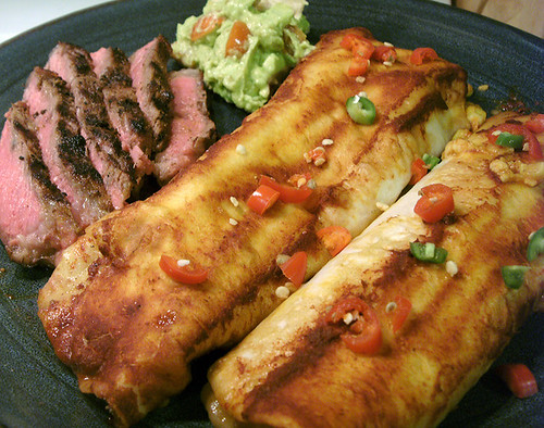 Tasty Cheese Enchiladas with Cave's Carne Asada and Rockin' Guac