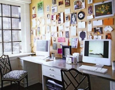desk & corkboard wall Elle Decor