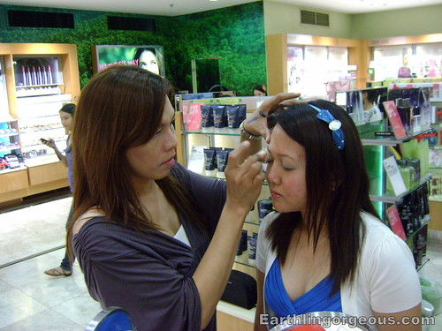 The Body Shop Senior Make-up Artist doing a make-over