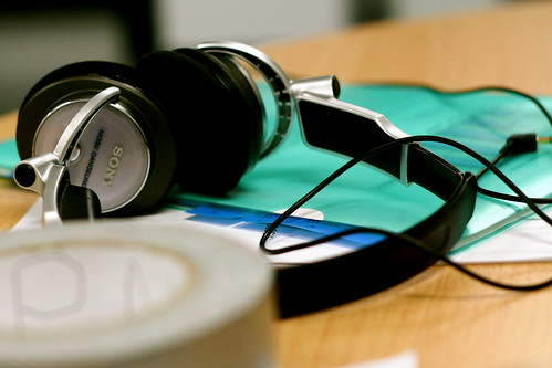 Saturday: headphones at lunchtime on the set of 48hr