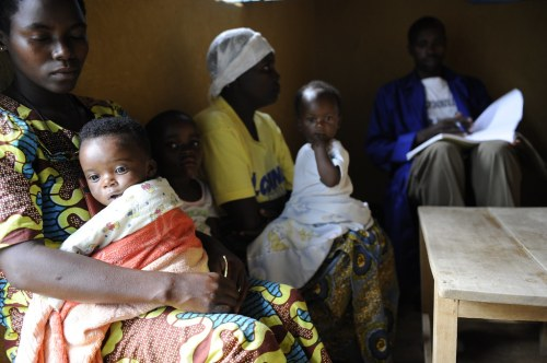 Mothers Waiting for Malaria Testing at a Clinic in Maynage, Rwanda