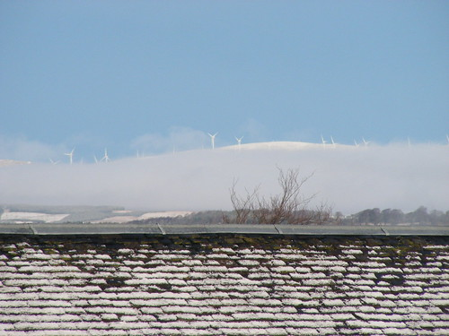 windmills over the snowy roof