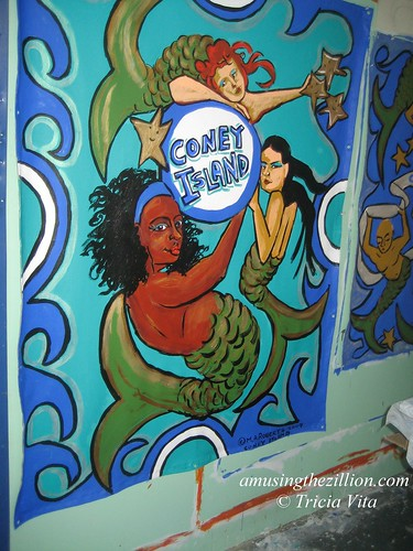 Mermaids of Coney Island Banner Painted by Marie Roberts for the BAM Silent Auction, March 18-28, 2010. Photo © Tricia Vita/me-myself-i via flickr