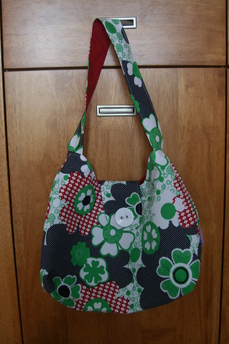 blue, red, green bag